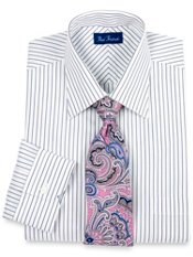 100% Cotton Multi-Stripe Spread Collar Trim Fit Dress Shirt