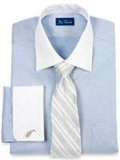 100% Cotton Mini-Check Windsor Collar French Cuff Trim Fit Dress Shirt