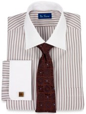 2-ply Cotton Tread Stripe Windsor Collar French Cuff Dress Shirt
