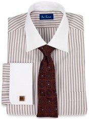 2-ply Cotton Tread Stripe Windsor Collar French Cuff Trim Fit Dress Shirt