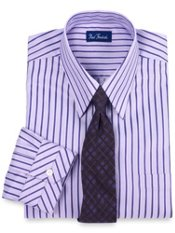2-ply Cotton Tonal Stripe European Straight Collar Dress Shirt