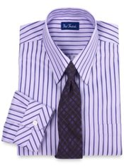 2-ply Cotton Tonal Stripe European Straight Collar Trim Fit Dress Shirt