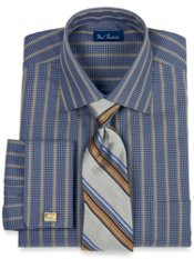 Italian Cotton Satin Stripe Spread Collar French Cuff Dress Shirt