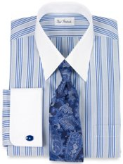 Non-Iron Cotton Pinpoint Stripe French Cuff Dress Shirt