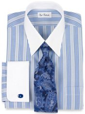 Non-Iron Cotton Pinpoint Stripe French Cuff Trim Fit Dress Shirt