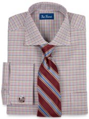 Italian Cotton Houndstooth Cutaway Collar French Cuff Trim Fit Dress Shirt