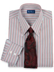Italian Cotton Satin Stripe Straight Collar Cuff Dress Shirt