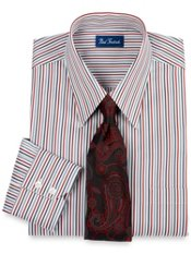 Italian Cotton Satin Stripe Straight Collar Trim Fit Dress Shirt