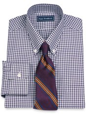 100% Cotton Gingham Button Down Collar Dress Shirt