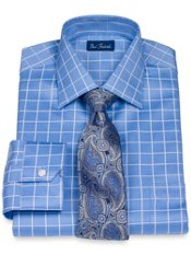 2-Ply Cotton Satin Rope Grid Windsor Collar Dress Shirt