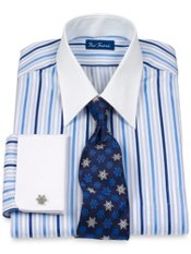 2-Ply Cotton Tonal Raised Satin Stripe Straight Collar French Cuff Dress Shirt