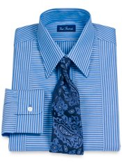 2-Ply Cotton Stripe Straight Collar Dress Shirt