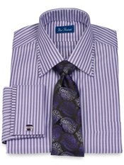 2-Ply Cotton Herringbone Stripe Spread Collar French Cuff Trim Fit Dress Shirt
