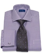 2-Ply Cotton Textured Grid Cutaway Collar French Cuff Dress Shirt