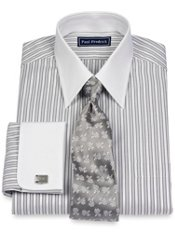 100% Cotton Textured Stripes Straight Collar French Cuff Dress Shirt