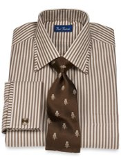 2-Ply Cotton Tonal Herringbone Stripe Spread Collar French Cuff Dress Shirt