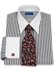 2-Ply Cotton Alternating Stripe Straight Collar French Cuff Trim Fit Dress Shirt