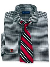 2-Ply Cotton Bold Houndstooth Extreme Cutaway Collar French Cuff Dress Shirt