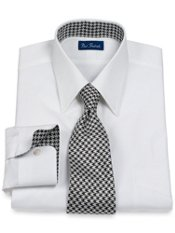 2-Ply Cotton Solid Silk Deco Straight Collar Trim Fit Dress Shirt