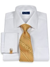 2-Ply Cotton Mini Satin Check Spread Collar French Cuff Dress Shirt