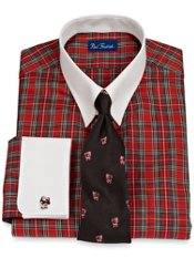 2-Ply Cotton Tartan Plaid Tab Collar French Cuff Dress Shirt