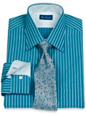 2-Ply Cotton Twin Satin Stripe Spread Collar Dress Shirt