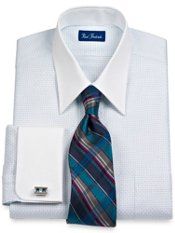 2-Ply Cotton Textured Dash Pattern Straight Collar French Cuff Dress Shirt
