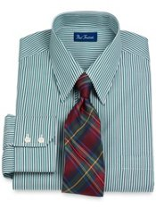 2-Ply Cotton Satin Stripe Straight Collar Dress Shirt