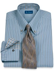2-Ply Cotton Twin Satin Stripe Button Down Collar Trim Fit Dress Shirt