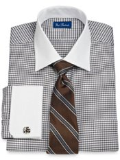 2-Ply Cotton Bold Houndstooth Spread Collar French Cuff Trim Fit Dress Shirt