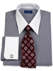 2-Ply Cotton Mini Dot Pattern Straight Collar French Cuff Dress Shirt