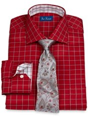 2-Ply Cotton Satin Rope Grid Cutaway Collar Dress Shirt