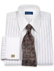 2-Ply Cotton Pinpoint Fine Line Stripe Straight Collar French Cuff Dress Shirt