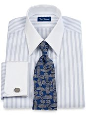 2-Ply Cotton Pinpoint Fine Line Stripe Straight Collar Trim Fit Dress Shirt