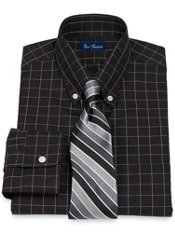 2-Ply Cotton Pinpoint Windowpane Button Down Trim Fit Dress Shirt