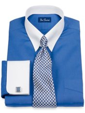 2-Ply Cotton Pinpoint Solid Tab Collar French Cuff Dress Shirt
