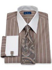End-on-End Stripe Straight Collar French Cuff Dress Shirt