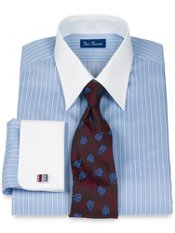 Peruvian Pima Cotton Textured Stripe Straight Collar French Cuff Dress Shirt