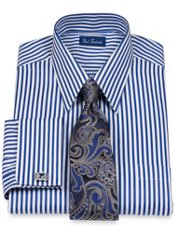 Peruvian Pima Cotton Raised Satin Stripe Straight Collar French Cuff Dress Shirt