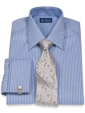 Peruvian Pima Cotton Satin Stripe Spread Collar French Cuff Trim Fit Dress Shirt