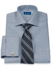 Peruvian Pima Cotton Houndstooth Cutaway Collar French Cuff Dress Shirt
