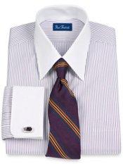 100% Cotton Fine Line Stripe Straight Collar French Cuff Dress Shirt