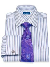 100% Cotton Alternating Stripe Spread Collar French Cuff Dress Shirt