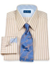 100% Cotton Stripe Straight Collar Trim Fit Dress Shirt