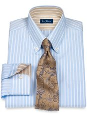 100% Cotton Stripe Button Down Collar Dress Shirt