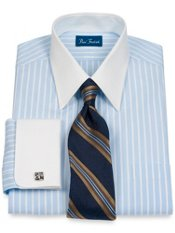 100% Cotton Stripe Straight Collar French Cuff Dress Shirt