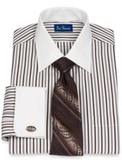 100% Cotton Shadow Stripe Spread Collar French Cuff Dress Shirt