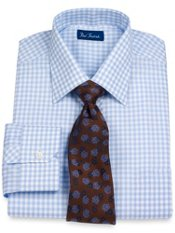 100% Cotton Gingham Spread Collar Dress Shirt