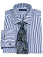 100% Cotton Stripe Spread Collar French Cuff Dress Shirt