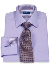 2-Ply Cotton Solid Windsor Collar Dress Shirt